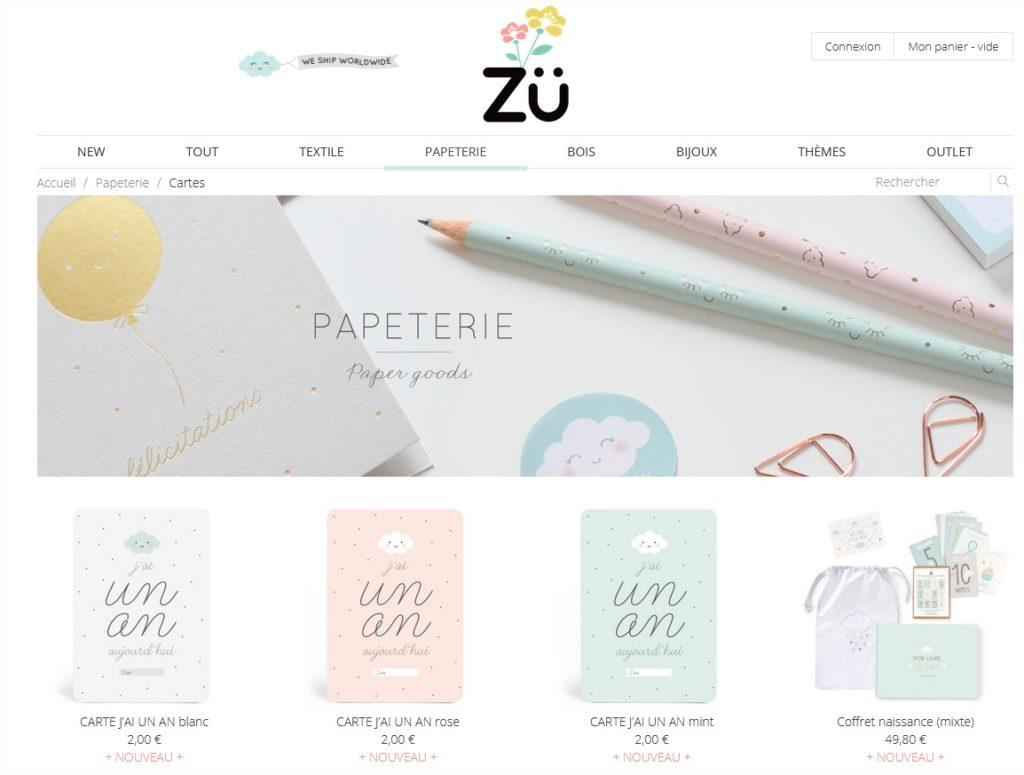 Cartes Catégories de produits Zü – Boutique papa ratatam carte