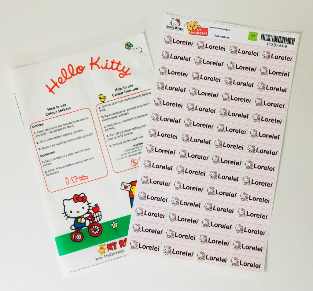 Hello Kitty my nametags etiquettes papa ratatam blog