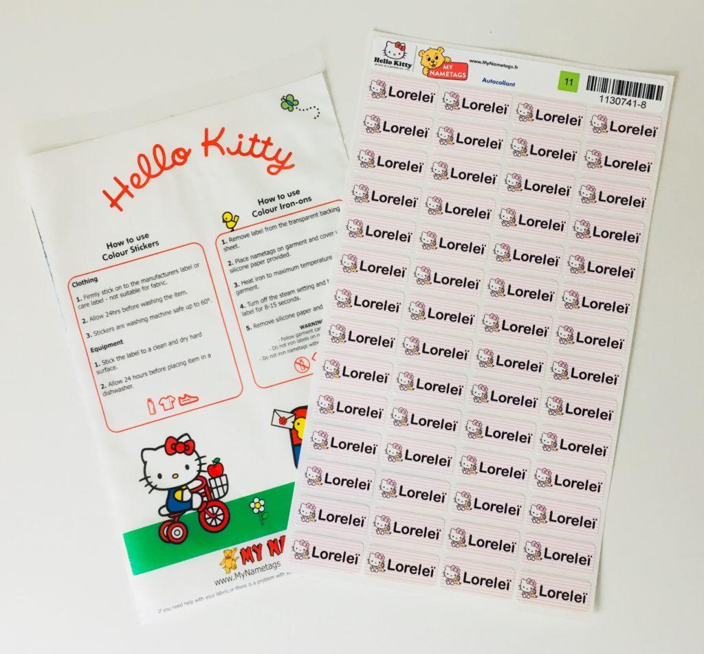 Hello Kitty my nametags etiquettes papa ratatam blog