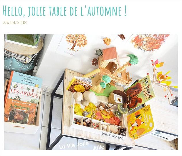 La vie Jolie Julie table d'automne blog papa ratatam